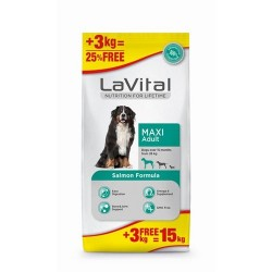 La Vital - La Vital Maxi Adult Somonlu Köpek Maması 12+3 KG